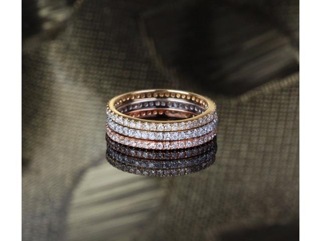 .95ct Diamond 14k Multi-Tone Gold Pave Wedding Engagement Matching Band Ring Set