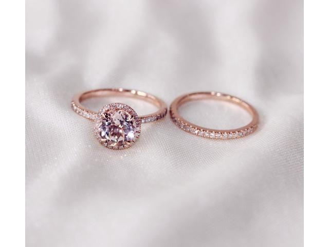 Discount Two Ring Set Round Cut 7mm VS Halo 14K Rose Gold Morganite Ring S