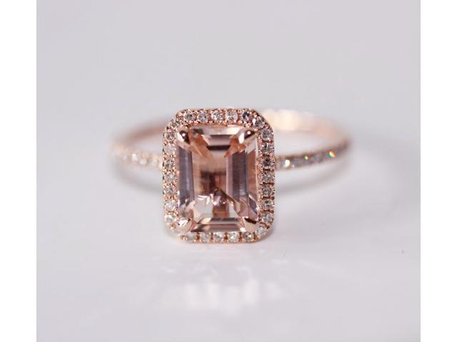 Fancy Halo Emerald Cut Morganite Ring 14k Rose Gold Pave