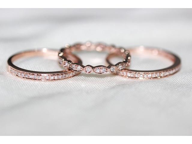 3 ring set rose gold ring rose gold wedding ring diamond ring - Rose Gold Wedding Ring Set