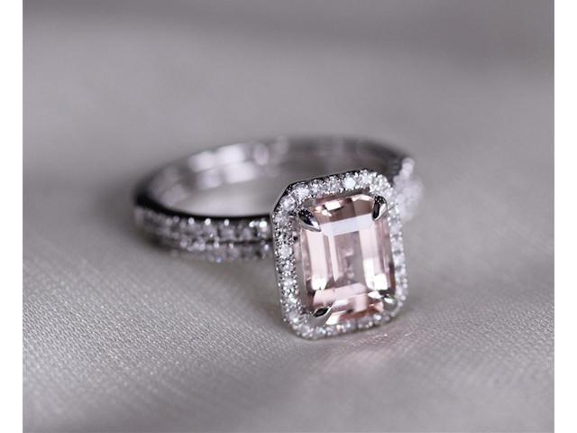 Two Ring Set Discount Fancy Halo Emerald Cut Morganite Ring 14K White Gold