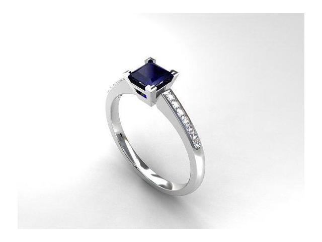 Princess cut Blue sapphire engagement ring, diamond ring, white gold solitaire, blue sapphire ring, blue, vintage style, square, unique