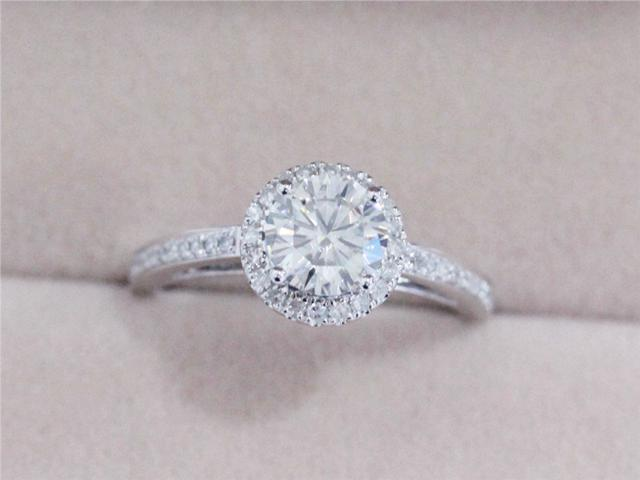 VS 6.5mm Round Moissanite Ring 14K Rose Gold Ring ...