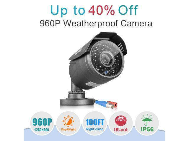 [New 960P] Annke HD 1.3 Mega-Pixels(1280x960) In/Outdoor Fixed CCTV Bullet Cameras ,Hi-Resolution Real HD, Vandal and Weather-Proof Body, 100FT Superior Night Vision