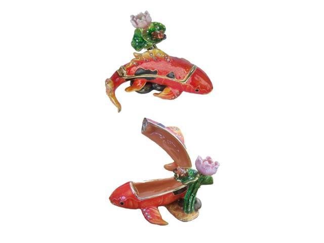Koi fish hinged trinket box sealife craft jeweled boxes for Koi fish gifts