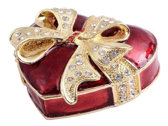 Heart shape jewelry box bejeweled trinket box wedding gift for Heart shaped engagement ring box