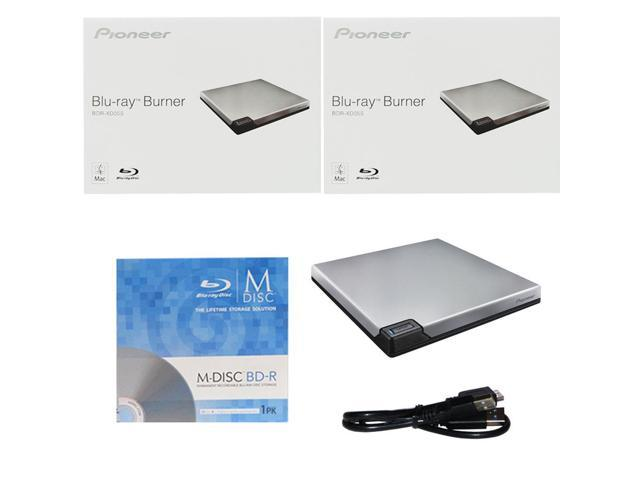 Pioneer 6X Slim External Blu-ray Burner+FREE 3pk MDisc BD+Cable BDR-XD05S Drive