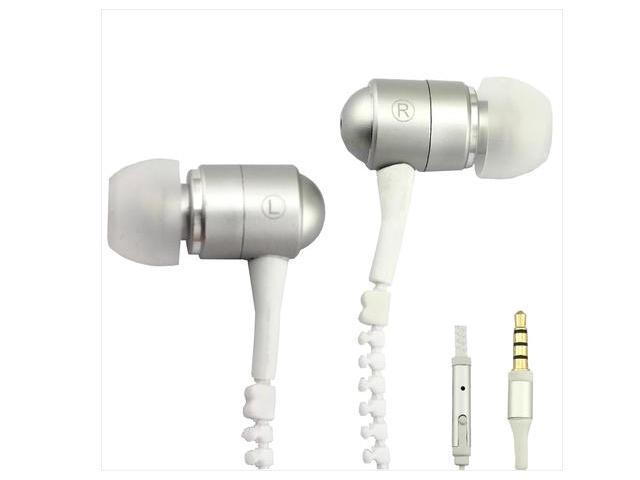 Zip zipper handsfree Earphone earpieces earbud headset with remote Mic 3.5mm jack for all smart phones PC MP3 MP4