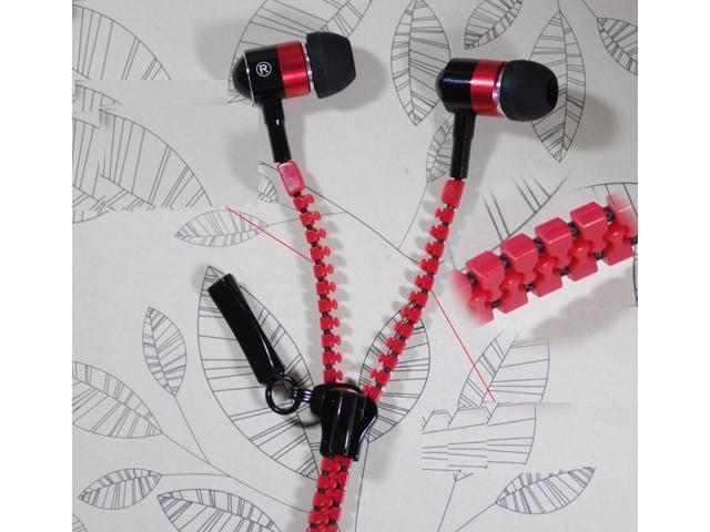 Zip zipper handsfree Earphone earbud headset remote Mic 3.5mm jack for all smart phone PC