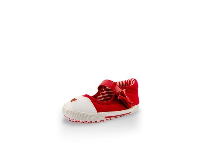 Glitter Heart Red Baby Canvas Shoe