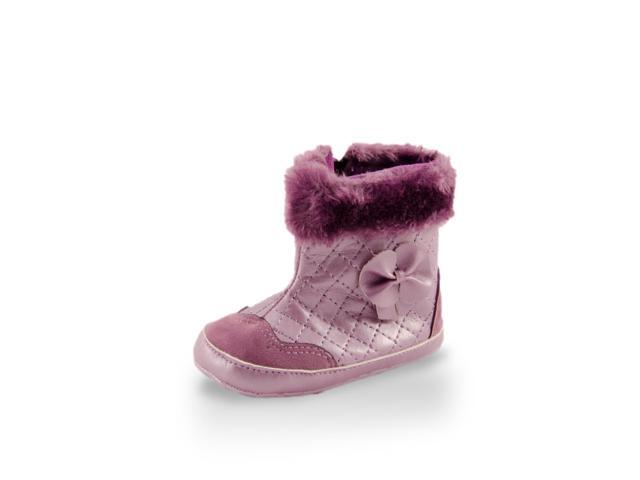 Baby Girl Fashionable Purple Faux Fur High Cuff Checker Boot By Twinkie Large