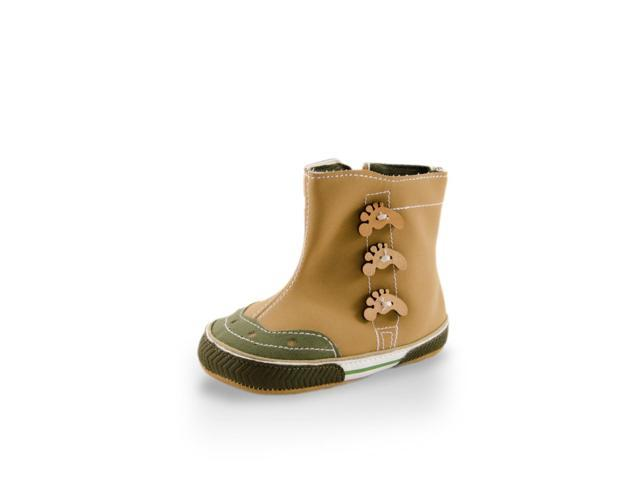 Baby Cute Beige High Cuff Fun Footprint Design Boots