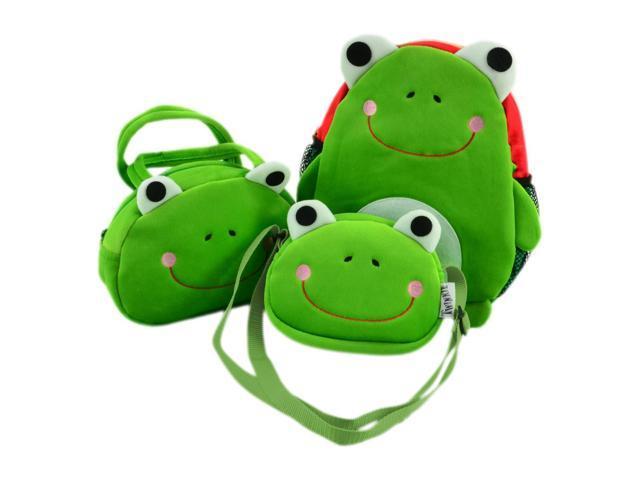 3 Piece Green Frog Face Design Backpack Set