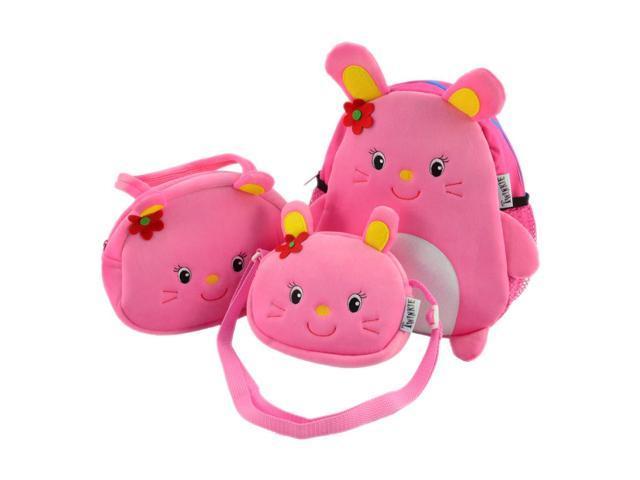 3 Piece Pink Mouse Face Design Backpack Set