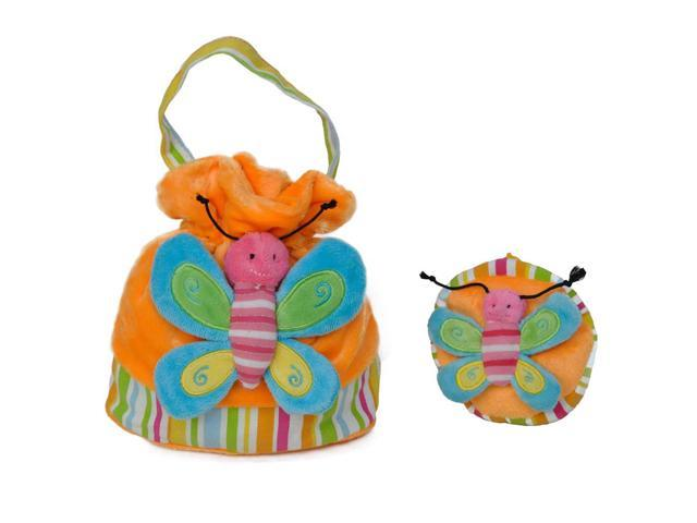 Girls Bright Butterfly Patch Handbag And Coin Purse Orange