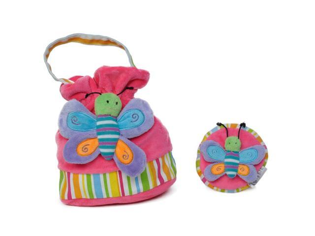 Girls Bright Butterfly Patch Handbag And Coin Purse Pink
