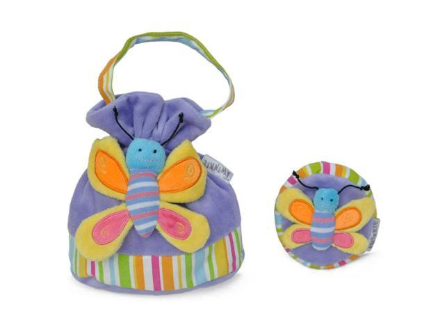 Girls Bright Butterfly Patch Handbag And Coin Purse Purple