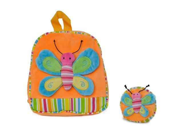 Girls Bright Butterfly Patch Backpack Orange