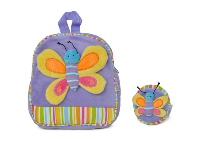 Girls Bright Butterfly Patch Backpack Purple