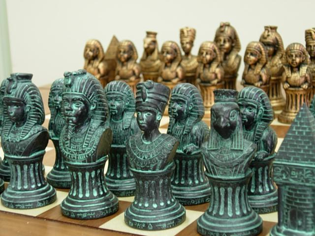 Chess Pieces - Ancient Egyptians, Gold & Green