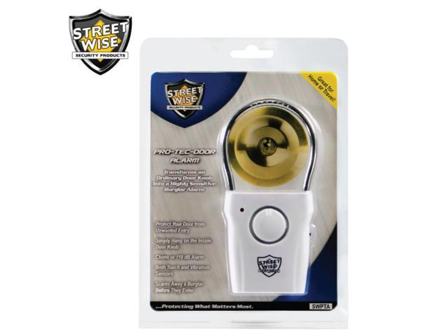 Door knob alarm PRO TEC Alarm by Streetwise Security Products. The 110db security alarm transforms any door knob into a burglar alarm security system. Great warning alarm for home, travel, dorms & RV.