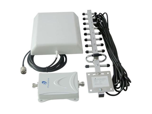 65dB 1900MHz Mobile Phone In-building Cell Phone Signal Repeater Amplifier Booster Kit with Indoor Panel Antenna and Outdoor Yagi Antenna