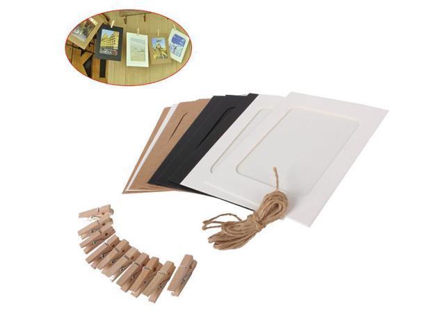 Hanging Album Kraft Paper 6'  Photo Frame DIY Home Decor Set With Hemp Rope&Clip