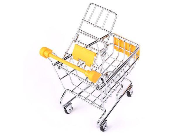 Yellow Supermarket Shopping Cart Utility Handcart Storage box Mini with 4 Wheels