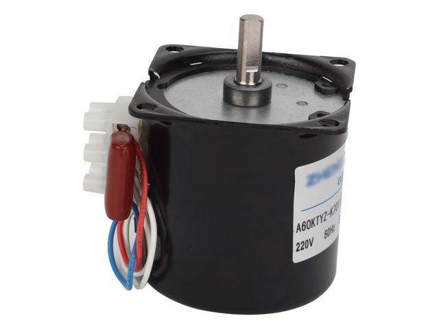 Black 60mm Bady Diameter Synchronous Reduction Geared Motor 220VAC 5RPM 50Hz