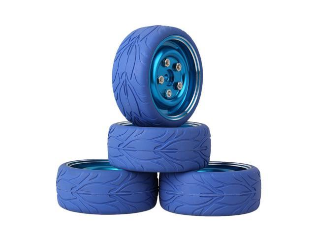 BQLZR 4Piece RC1:10 On Road Car Fish Scale Rubber Tyre & Blue 4-Holes Alloy Wheel Rim