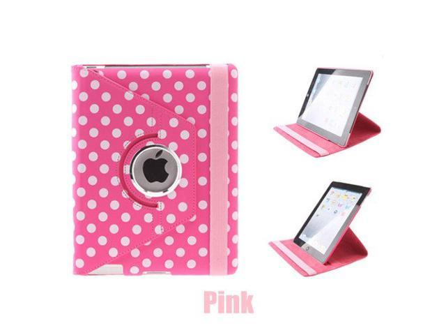 Euroge Tech® Polka Dot Pattern PU Leather Case With 360 Degrees Rotating Stand for iPad 2 and the New iPad Pink