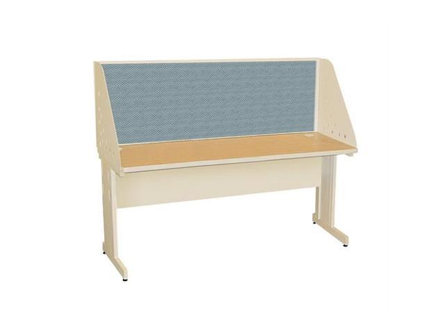 Pronto Pronto School Training Table with Carrel and Modesty Panel Back, 60W x 30D - Putty Finish and Slate Fabric