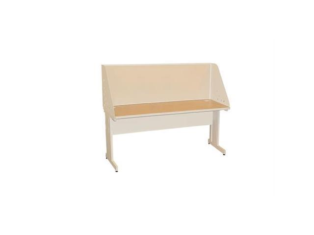 Pronto Pronto School Training Table with Carrel and Modesty Panel Back, 60W x 30D - Putty  Finish and Beryl Fabric