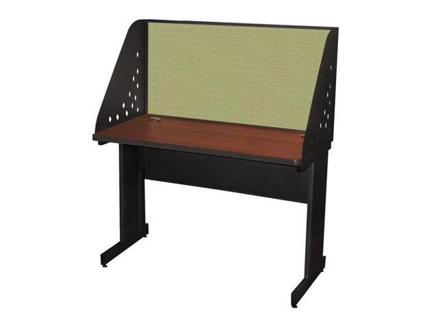 Pronto Pronto School Training Table with Carrel and Modesty Panel Back, 48W x 24D - Dark Neutral Finish and Peridot Fabric