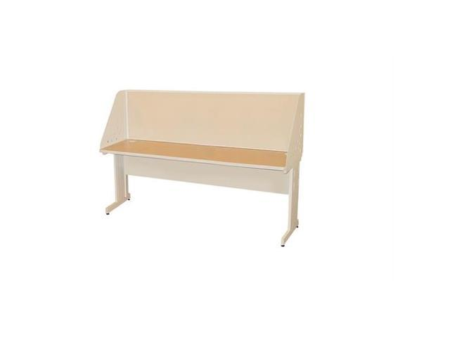 Pronto Pronto School Training Table with Carrel and Modesty Panel Back, 72W x 24D - Putty  Finish and Beryl Fabric