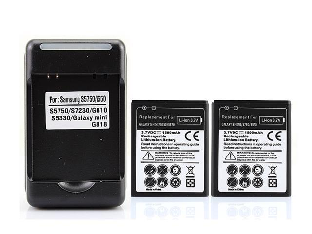 Yiboyuan 2 x 1500mAh Replacement Battery with Wall Charger For Samsung Galaxy S Mini S5570 S5570 S5330 551 723  Cell Phone