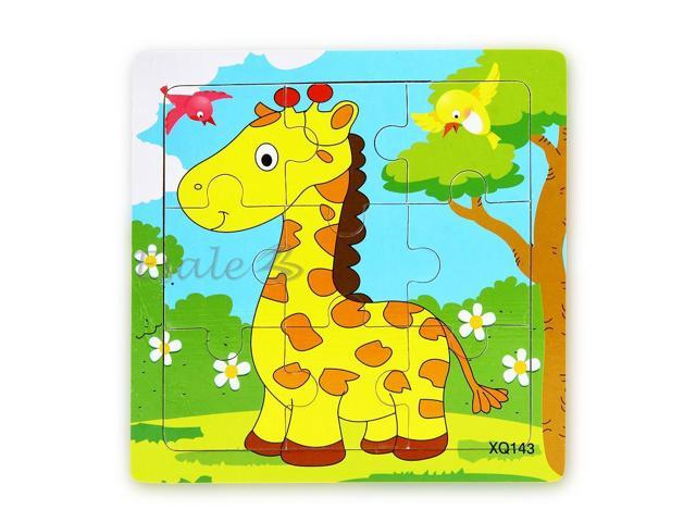 Giraffe Cartoon Baby Wooden Toy 9pcs Plane Puzzle Jigsaw Educational Gift - Newegg.com