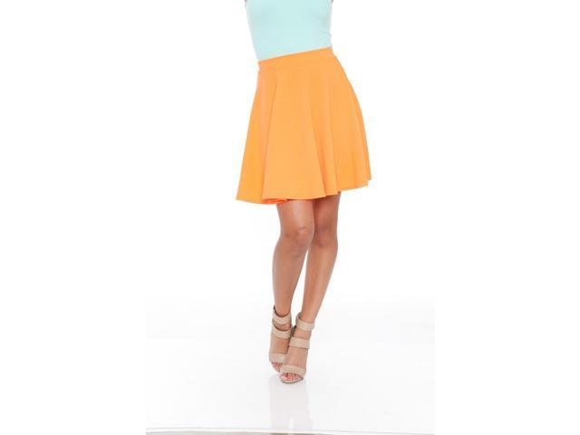 White Mark's Orange Heidi Flare Skirt
