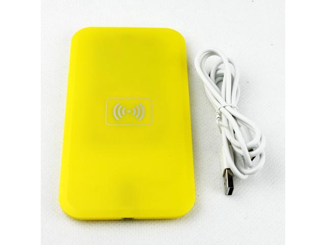Qi Wireless Charger Yellow Qi Transmitter Wireless Charging Pad (MC-02A) + Black Wireless Receiver Case (MC-CS4) Dormancy ...