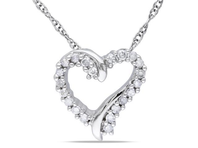 10k White Gold 1/10ct TDW Diamond Heart Pendant