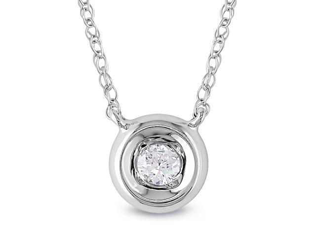 10k Gold 1/10ct TDW Diamond Solitaire Necklace