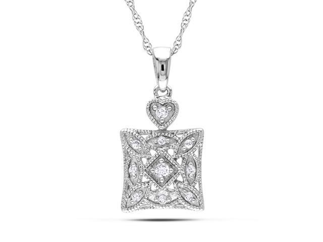 10k White Gold 1/10ct TDW Diamond Fashion Necklace