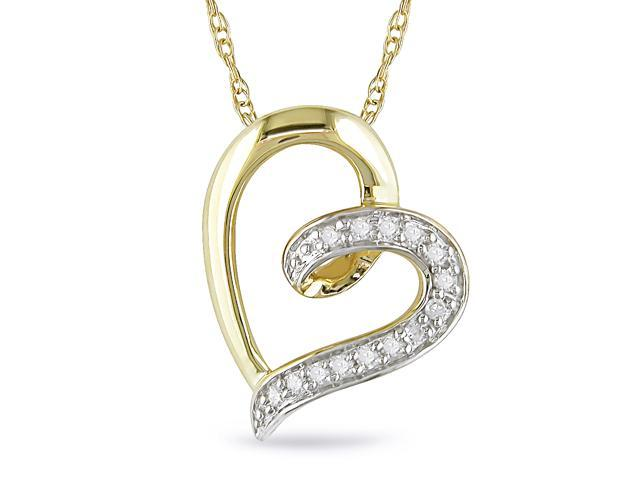 10k Yellow Gold Diamond Heart Necklace
