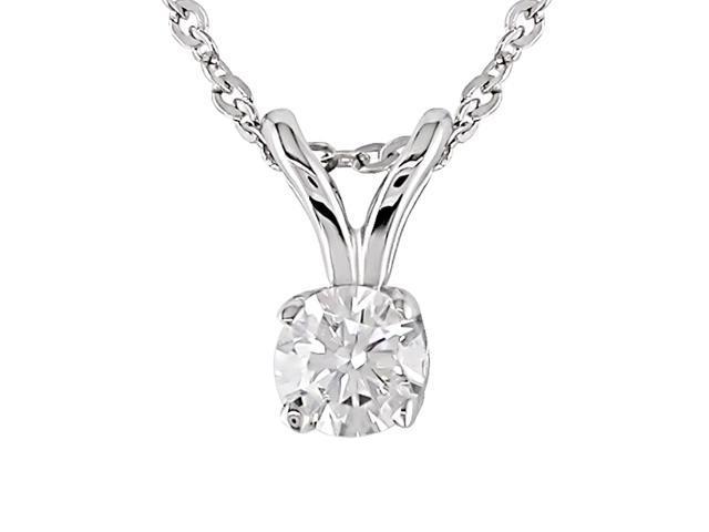 14K White Gold 1/6ctw Diamond Solitaire Pendant 17-Inch