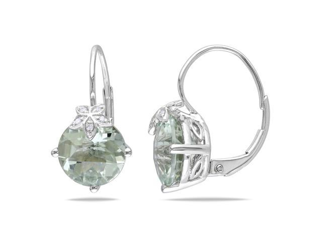 Green Amethyst and Diamond Accent Earrings in 10k White Gold