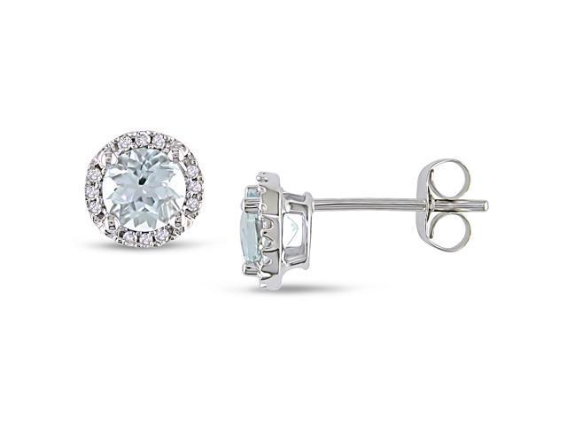4/5 CARAT AQUAMARINE AND DIAMOND 10K WHITE GOLD EARRINGS