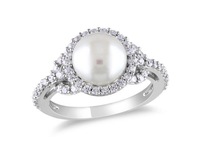 Amour Sterling Silver Freshwater White Pearl 1ct TGW White Cubic Zirconia Cocktail Ring (8.5-9mm)