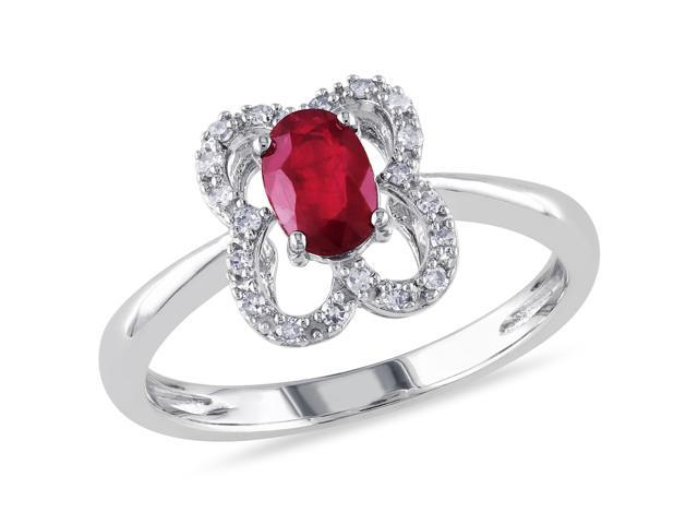 10k White Gold 5/8ct TGW Ruby and 1/10ct TDW Diamond Cluster Ring (G-H, I1-I2)
