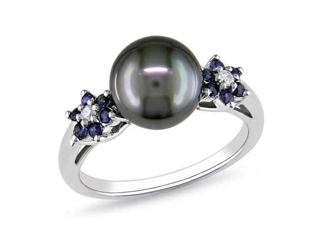 Amour 10k White Gold Tahitian Black Pearl and 0.24ct TGW Sapphire with 0.05ct TDW Diamond Ring (G-H, I2-I3) (9-9.5mm)