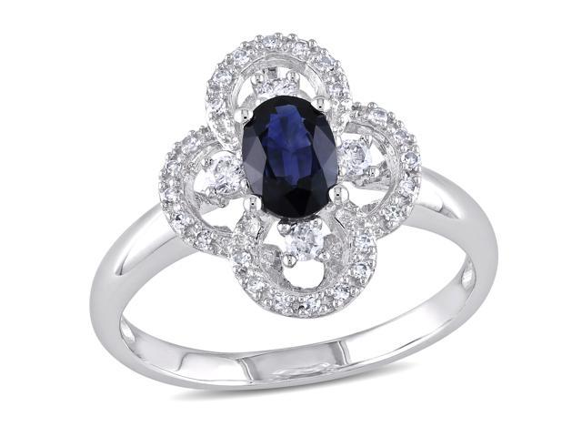 10k White Gold 5/8ct TGW Sapphire and 1/6ct TDW Diamond Cluster Ring (G-H, I1-I2)